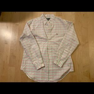 Ralph Lauren pink and green striped button down
